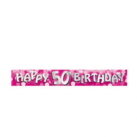 Holographic Pink Happy 50th Birthday Banner