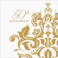 Golden '50th Anniversary' Beverage Napkins