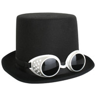 Steampunk Black Top Hat with Goggles | Trademart
