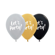 Latex Printed 30cm 'Let's Party' Pearl Balloons | Five Star