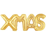 'XMAS' Gold Foil Jumbo Letter Balloon Package | Qualatex