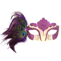 Dr Tom's Burlesque Purple Eye Mask with Peacock Feathers