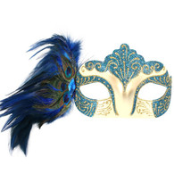 Dr Tom's Burlesque Blue Eye Mask with Peacock Feathers