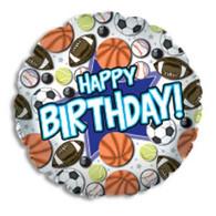 Happy Birthday Sports Balls Foil Balloon