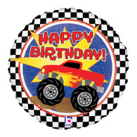 Happy Birthday Monster Truck Foil Balloon