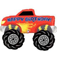 Large Happy Birthday Monster Truck Supershape Foil Balloon