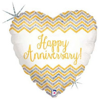 Betallic Holographic Happy Anniversary Foil Balloon