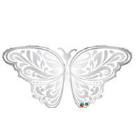 Foil Supershape Silver Pattern Butterfly Balloon | Qualatex
