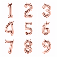 "Air Filled Rose Gold 16"" Alphabet Foil Number Balloon 