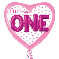 Fun to Be ONE 3D Effect Pink Heart Foil Balloon | Anagram