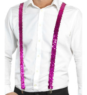 Hot Pink Sequin Suspenders/Bracers | Trademart