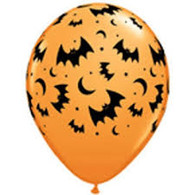 "Halloween Orange Bat Latex 16"" Balloon 