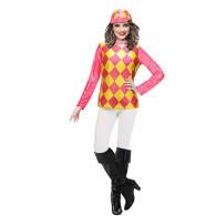 Jockey Top & Hat Yellow/Fuchsia Pink Outfit | Amscan