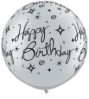 Latex Round 90cm Silver Happy Birthday Sparkle Balloon | Qualatex