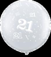 Latex Round 90cm Diamond Clear '21'  Balloon | Qualatex