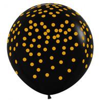 Latex Round 90cm Printed Black w Gold Spots Balloon   Alpen