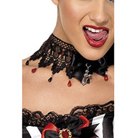 Gothic Ribbon Lace & Bead Necklace | Smiffy's