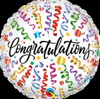 Foil Round Congratulations Streamers Balloon | Qualatex