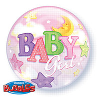 Bubble Baby Moon & Stars Girl Balloon | Qualatex