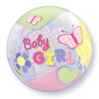 Bubble Baby Girl Butterflies Balloon | Qualatex