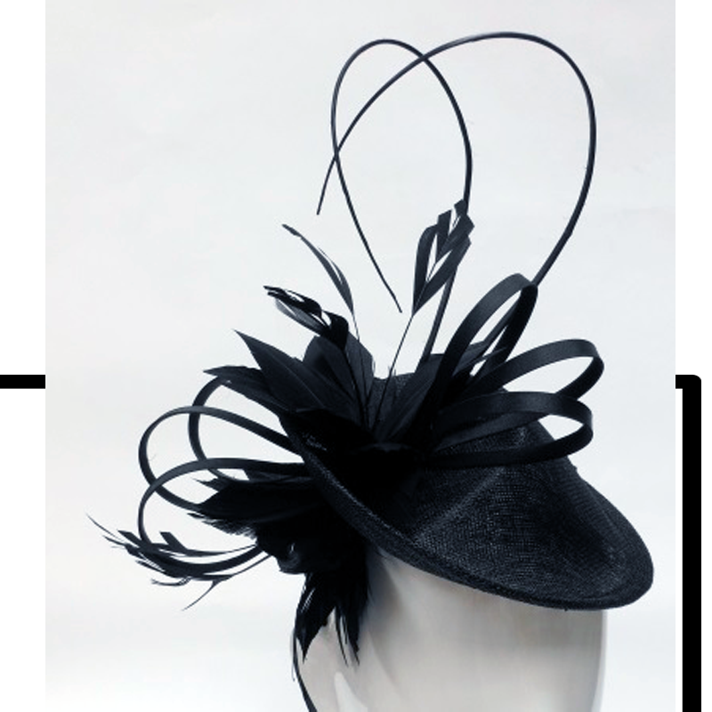 FH2325B - Large Hat Style Fascinator on Head Band by FAB