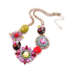 Women's Necklaces | FN2607 - Pink Jewelled Necklace | FAB