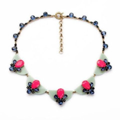 Women's Accessories Online | FN2612 - Blue and Pink Choker Necklace | FAB