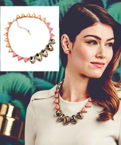 FN2603 - Pink/Orange Small Triangle Necklace by FAB