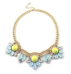 FN2609- Light Blue and Yellow Necklace by FAB