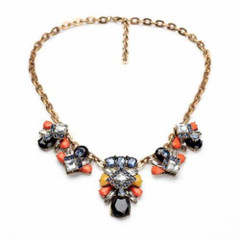 Women's Necklaces | FN2613- Orange and Black Jewelled Necklace | FAB