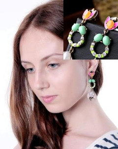 Women's Earrings | FE2614 - Green and Pink Circle Earring | FAB