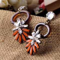 Women's Earrings Online | FE2617 - Orange and Brown Circle Earring | FAB