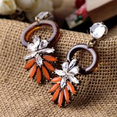 Women's Earrings Online | FE2617 - Orange and Brown Circle Earring | FAB