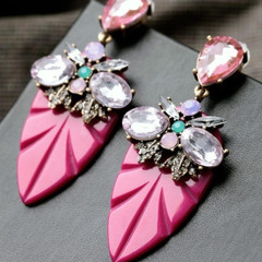 Women's Accessories in Australia | FE2619 - Pink Jewelled Earring | FAB