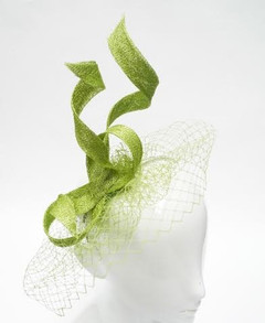 Women's Fascinators  | FH2301L- Green Net Fascinator | FAB