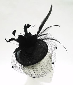 Women's Fascinators Online | FH2302- Black Feather Net Fascinator | FAB