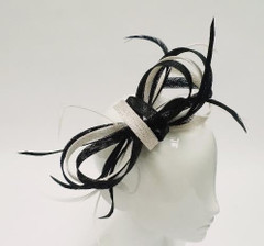 Women's Fascinators in Australia | FH2307BW- Black and White Fascinator | FAB