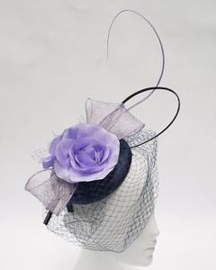Women's Fascinators | FH2308 - Purple Rose Fascinator |  FAB