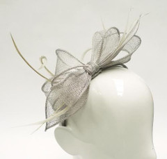 Women's Fascinators | FH23010S - Silver Bow Fascinator | FAB