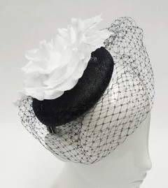 Women's Fascinators in Australia | FH2313BW - Black and White Rose Net Fascinator | FAB
