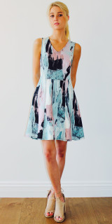 Ladies Dresses Online | Paint Brush Scuba Dress | URBAN AFFAIR