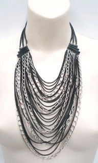 Women's Necklaces | ON556 - Black and Silver Chain Necklace | FAB
