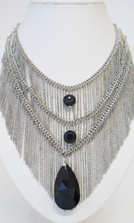 Women's Accessories | ON572 - Multi-Layered Silver Diamante Necklace | FAB
