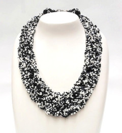 Women's Necklace | FN2809 - Statement Black White Beaded Necklace | FAB