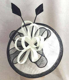 FH2319 - Large Black and White Disc Fascinator on Head Band by FAB