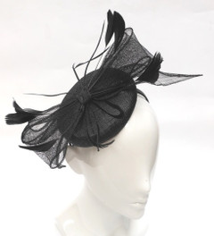 Ladies Fascinator  | FH2323B - Small Pillbox Fascinator with Sinmay Bow on Head Band | FAB