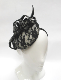 FH2321 - Large Lace Covered Pillbox Fascinator on Head Band by FAB