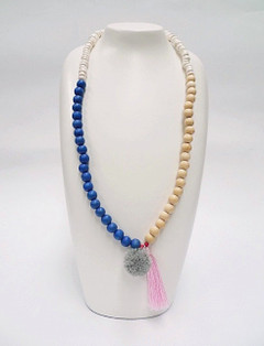 Women's Jewellery Online | FN2805B Blue with Pink Tassel Necklace | FAB