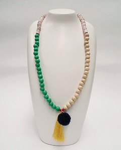 Women's Jewellery Online Australia | FN2805G Green With Yellow Tassel Necklace | FAB