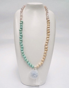 Women's Jewellery Online | FN2805M Mint with White Tassel Necklace | FAB